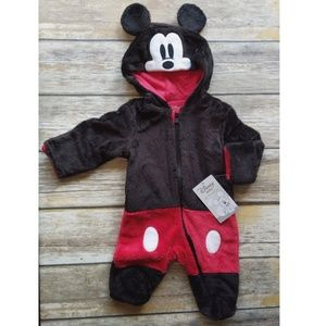 Disney Baby Hooded Micky Mouse Footie Cozy Outfit